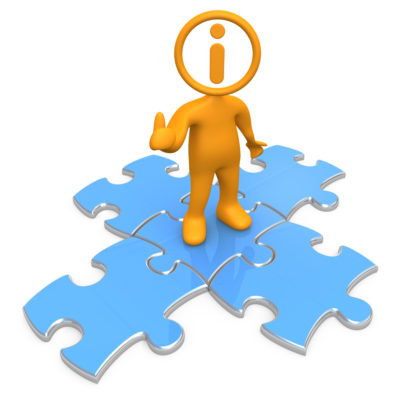 Royalty-free 3d computer generated clipart picture image of an orange person with an i inside his circle head, standing on top of blue puzzle pieces, symbolizing information and technical support.